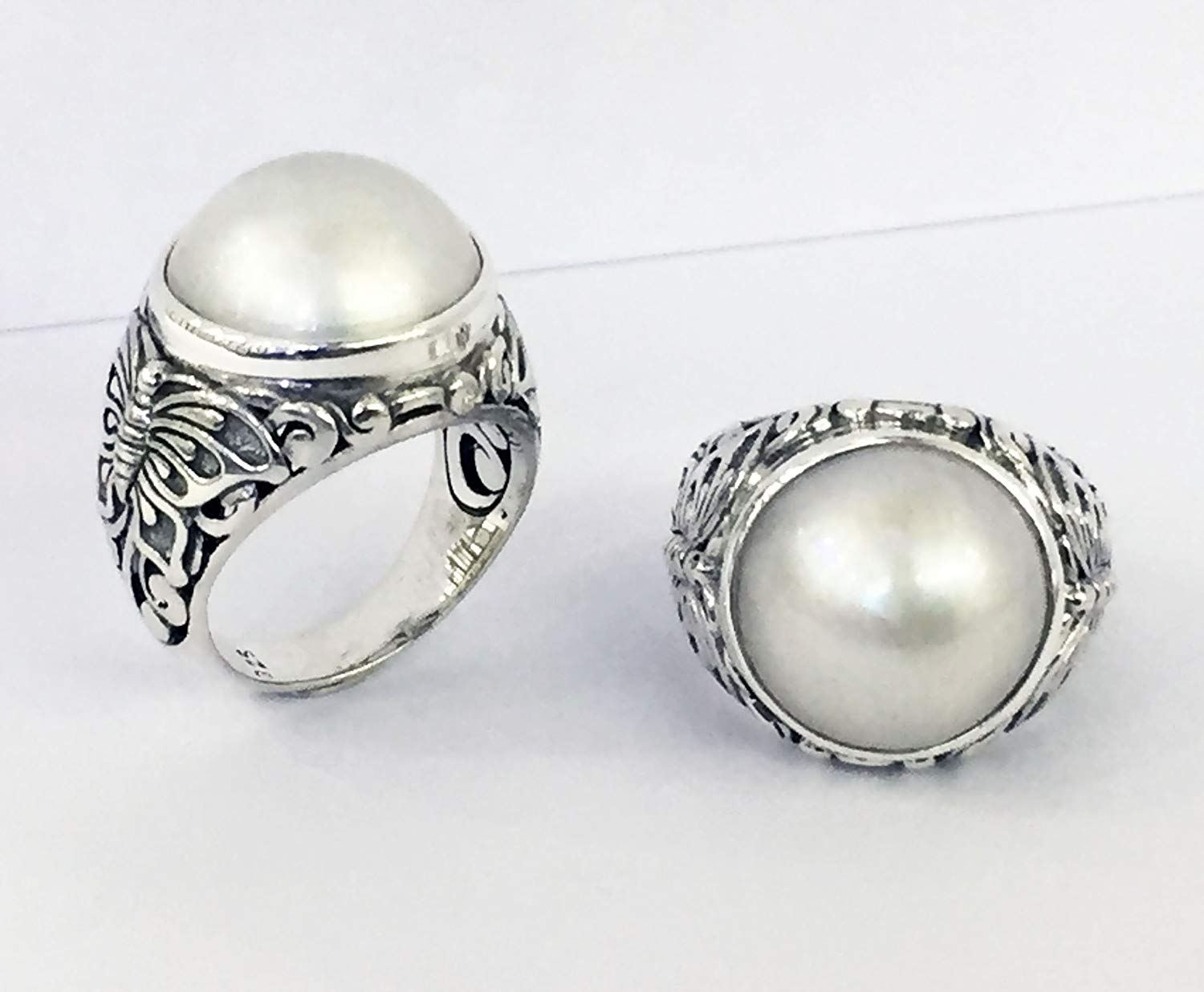 bali carving ring with cultured white mabe pearl, handmade 925 sterling silver ring with pearl, pearl ring, mabe pearl ring, silver ring with pearl,
