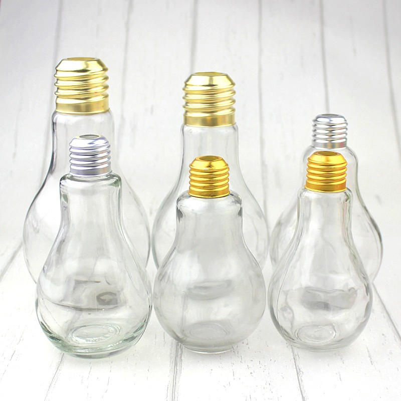 Novelty Set Of 4 Coloured Light Bulb Drinking Glasses Cocktail Jar With Straws