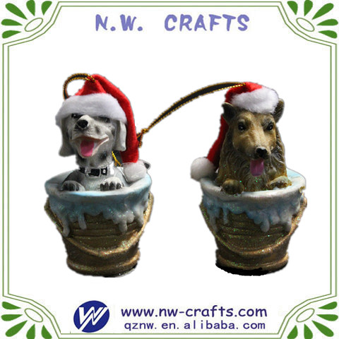 Resin crafts lovely dog hanging ornaments for christmas