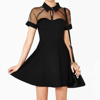 Summer Sexy Women Mini Dress Mesh Cutout Sweetheart Neckline Short