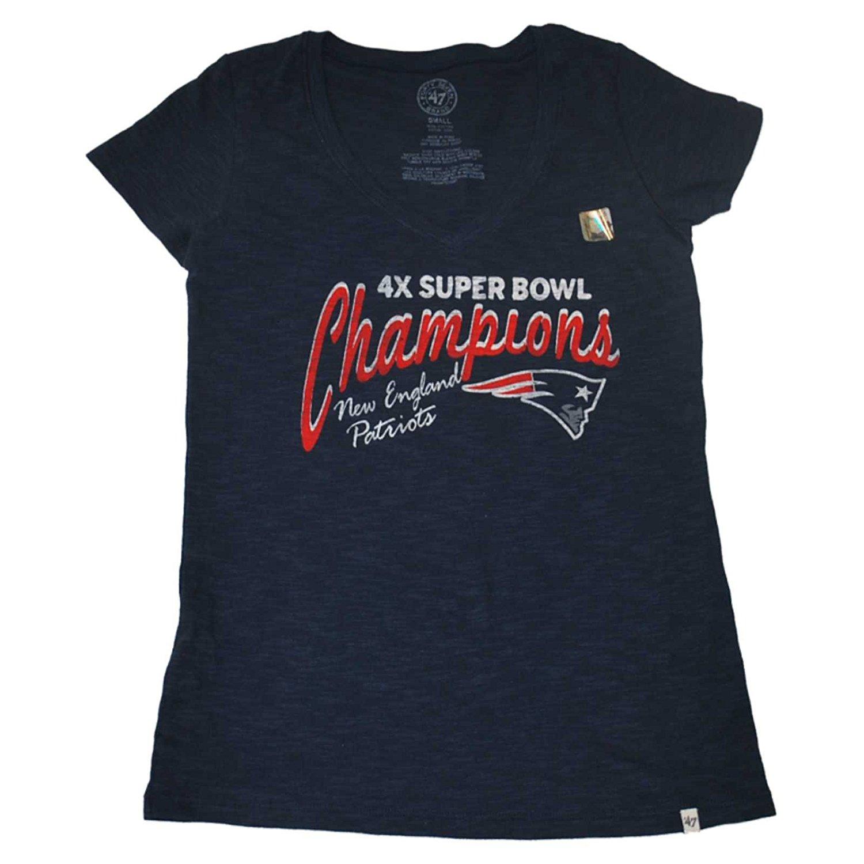 f9df73dd Get Quotations · New England Patriots 47 Brand Women 4X Super Bowl  Champions Scrum V-Neck T-