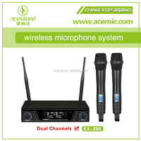 ACEMIC EX200 professional high quality Stage uhf dual channel wireless microphone system