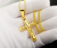 new design fashion man jewelry 14k gold plating cross pendant with jesus