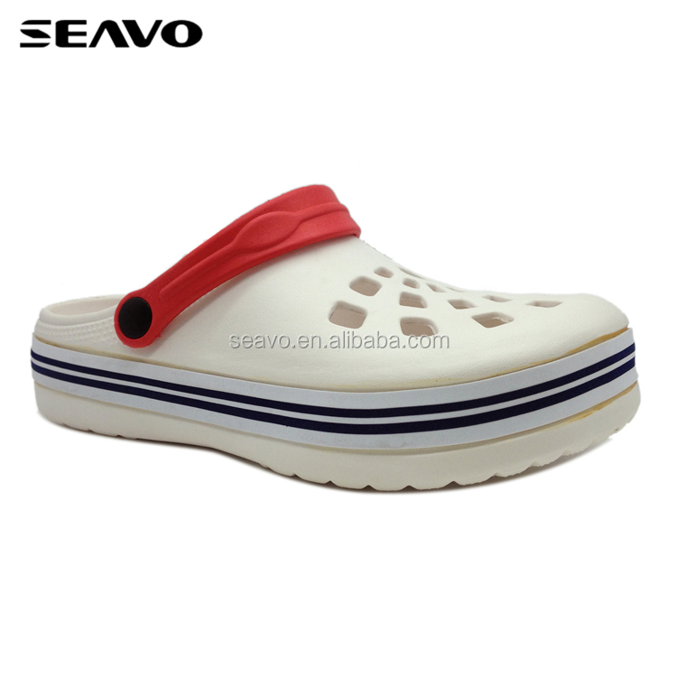 SEAVO SS17 classic adjustable back strip style all size cheap white women eva garden clogs