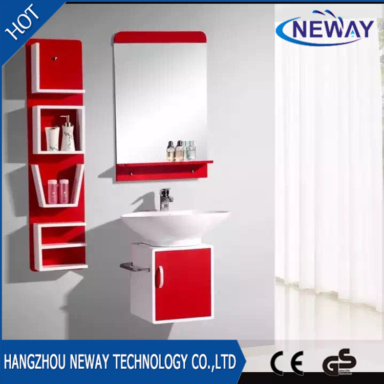 pared de la alta calidad precio barato pvc vanidad de bao con espejo