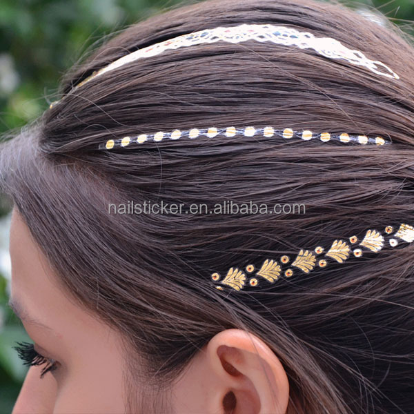 Custom ODM strips gold and silver temporary metallic hair tattoos sticker manufacturer