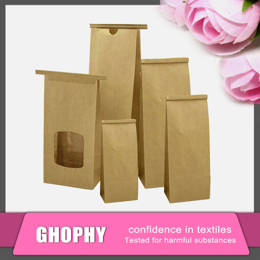 Food Packing Paper Pag Brown or White Kraft Paper Bag With Transparent Window
