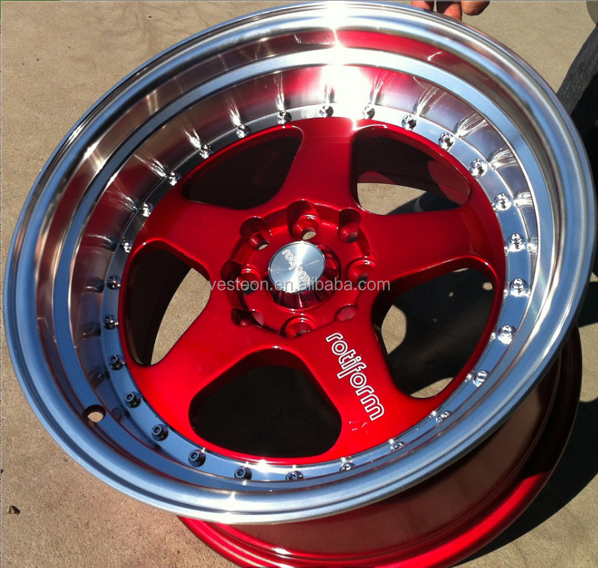 Big alloy Dish lip Red Beautiful Car <strong>Wheel</strong> with Nice Rivets