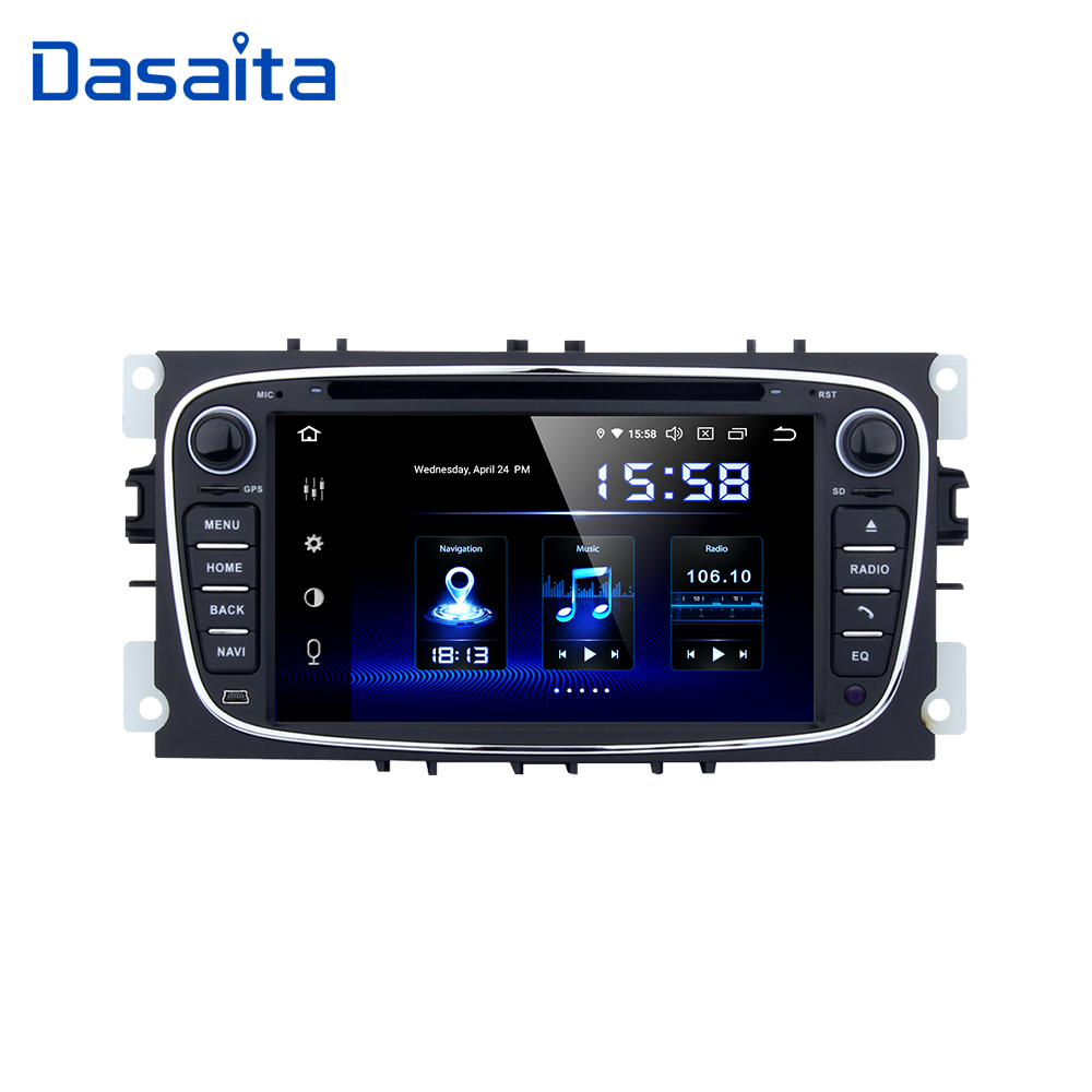 7 Dasaita ''2 din Rádio Do Carro do GPS do Android 9.0 para Ford Focus 2 S-max Mondeo B- max Galáxia DVD Player 2008 2009 2010 2011 GB ROM 64