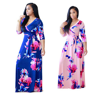 Wholesale African women clothes fashion 2 colors hot selling flowers print maxi dresses