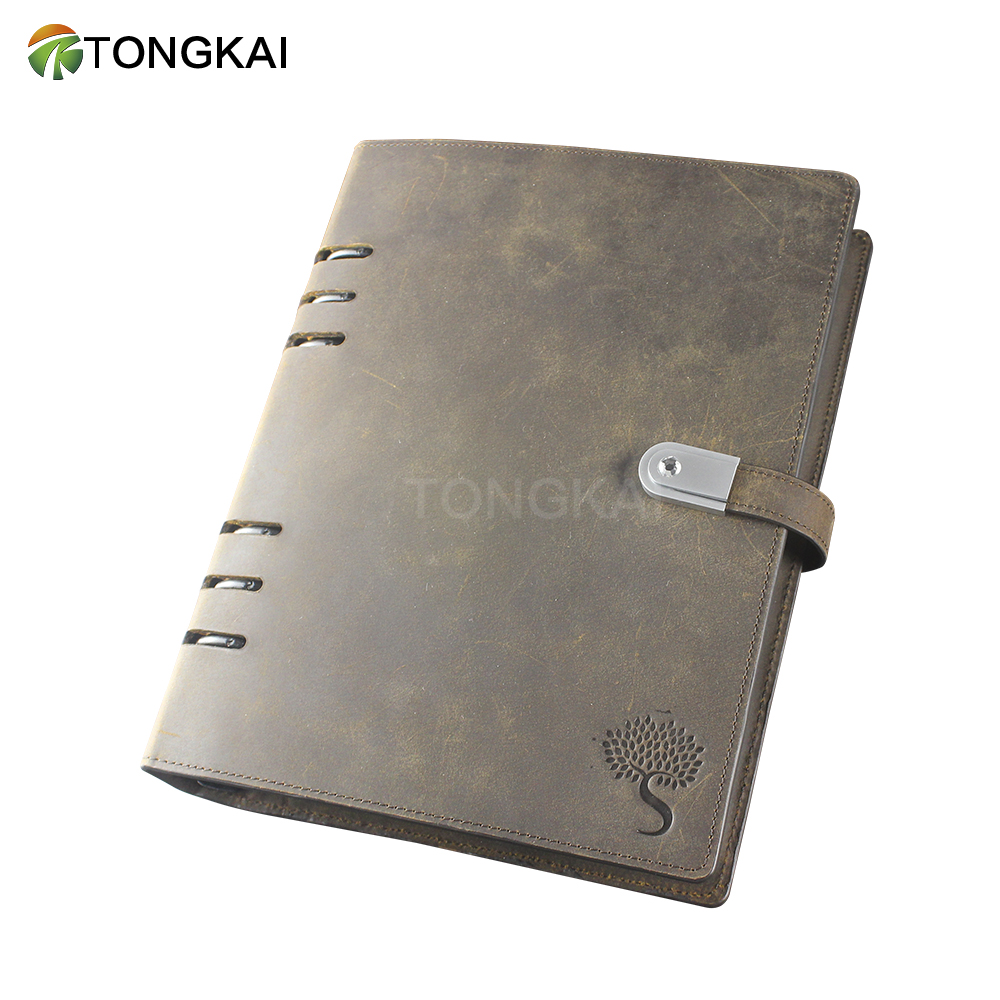 Loose-Leaf PU Leather A5 Planner Diary Notebook with Power Bank and USB Flash Drive