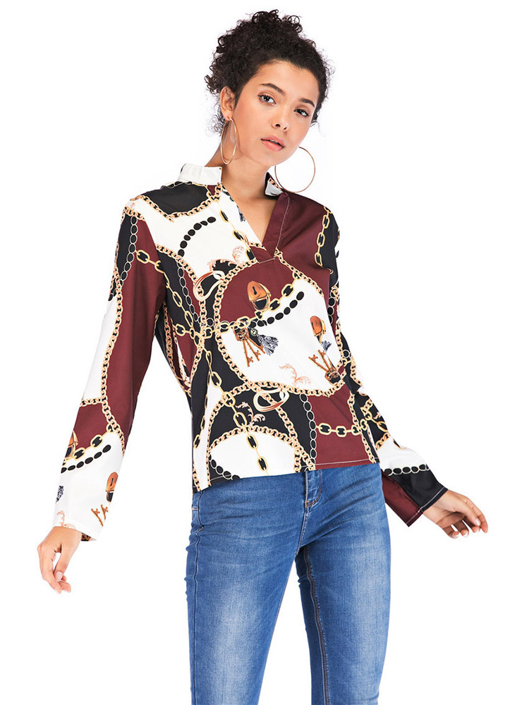 Chiffon casual blouse female 2019 new shirt chain lock print ladies tops women blouse long sleeve stand collar