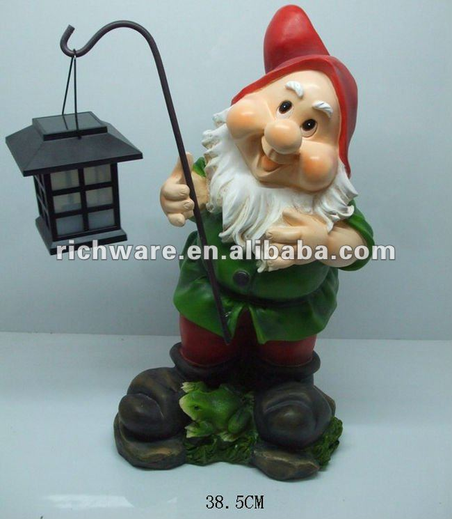 nice gnome polyresin garden lantern decoration