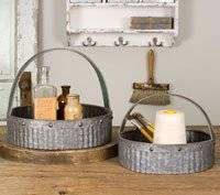 Rustic Decorative Corrugated Metal Baskets with Handle (set of 2)