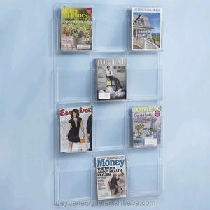 plastic acrylic brochure holders wall mount with pockets