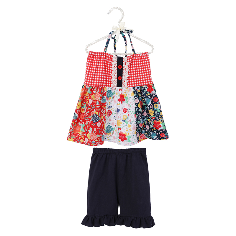 Sleeveless flower printed girl top and navy solid  cotton ruffle shorts girl set for summer