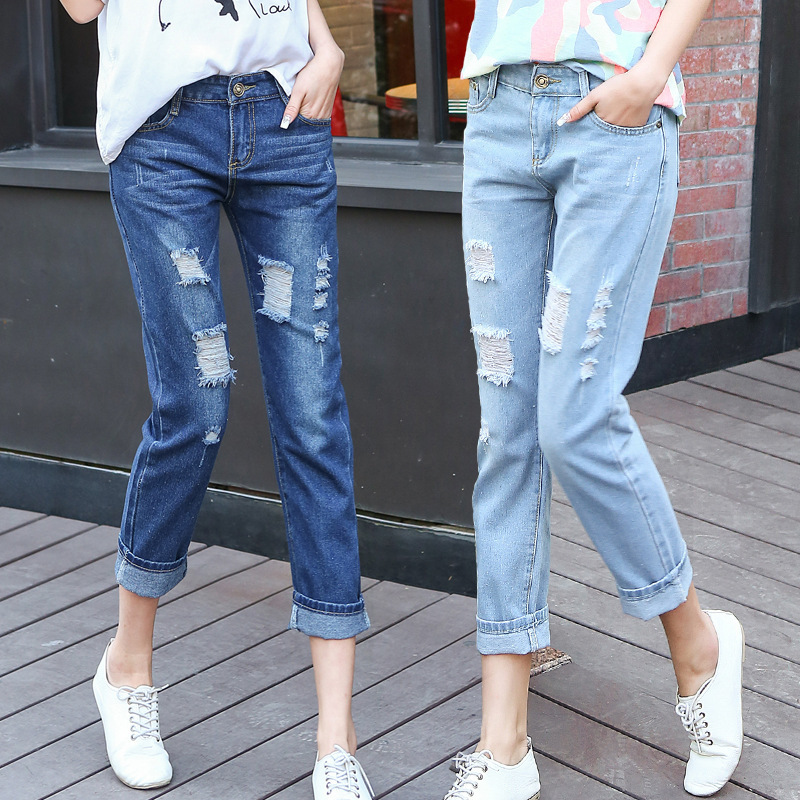 dfcddd7ad97 Jeans woman ripped Casual Slim Loose Plus size distressed women jeans big  pocket jeans