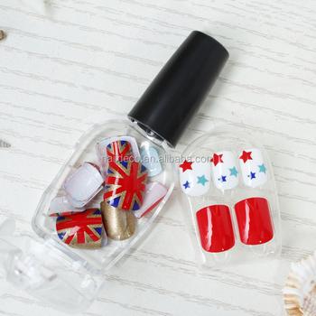 Nadeco Fashionable Pre Glued False Nail Uk Flag Nail Art Tipsbeauty