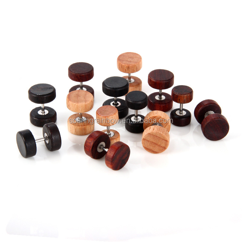 New Fashion Round Wood Ear Stud Earring for Women Men Jewelry wholesale