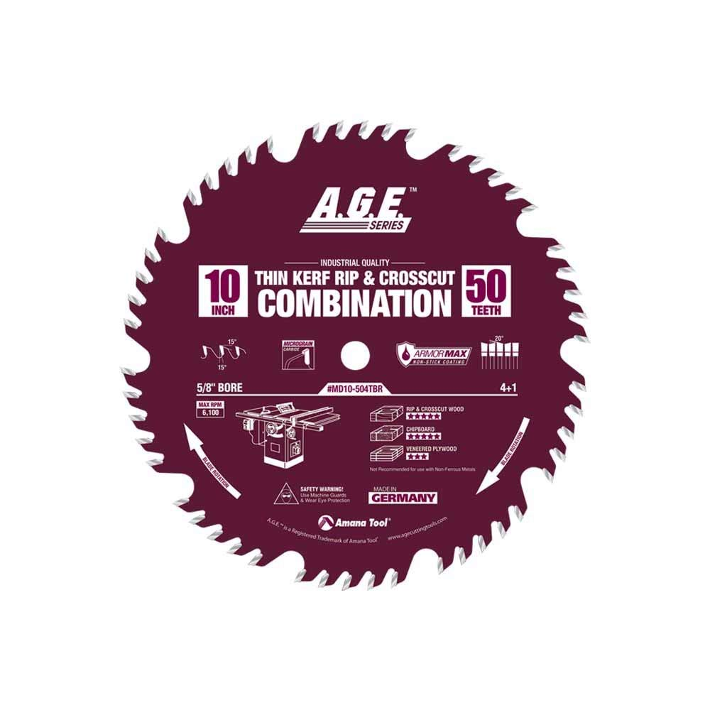 A.G.E. Series by Amana Tool MD10-504TBR Thin Kerf Rip Crosscut Combination ArmorMax Non-Stick Coating 10-Inch x 50 Tooth 4+1-5/8-Inch Bore Saw Blade