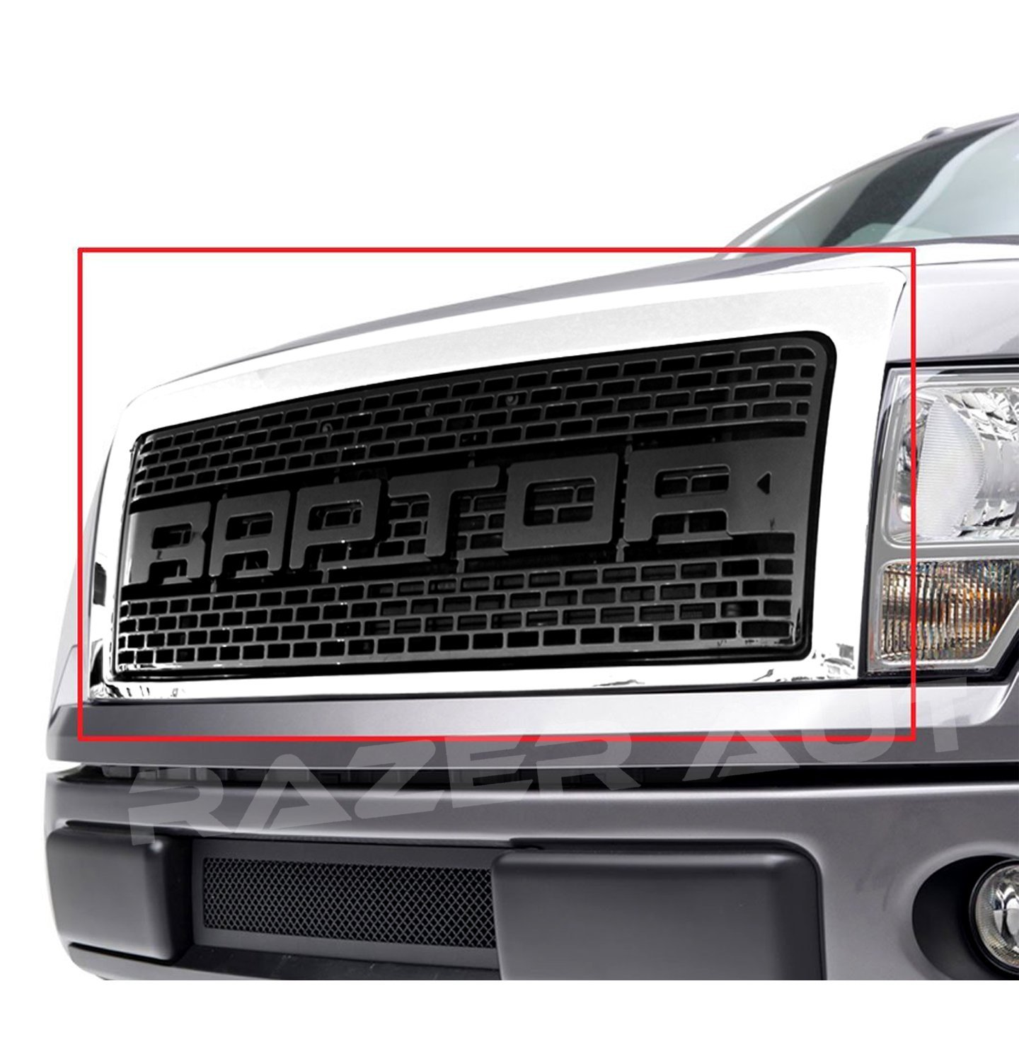 Razer Raptor Style 09-14 Ford F150 Chrome Outer Shell with Gloss Black Raptor Mesh Grille Complete Factory Replacement Grille Shell