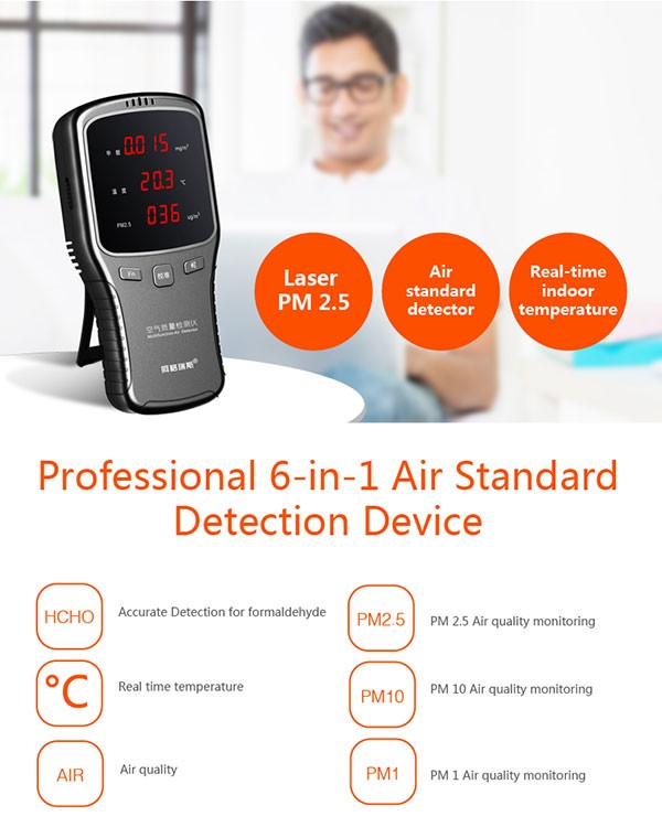 Portable Tvoc Monitor Pm 2.5 Detector Air Dust Particle Counter ...