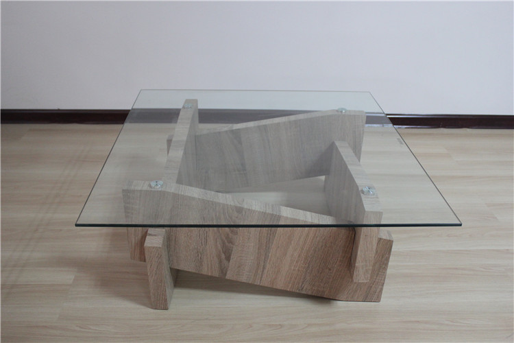 crazy sales special design top glass with wooden bases coffee