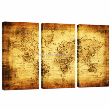 Large Size Old Map Canvas Print Retro World Map Canvas 3 Panels