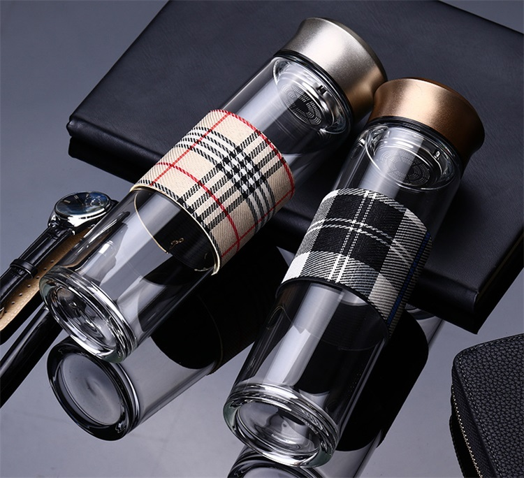 Portable Cylindrical Lattice Cloth Cover Business Affairs Glass Water Bottle