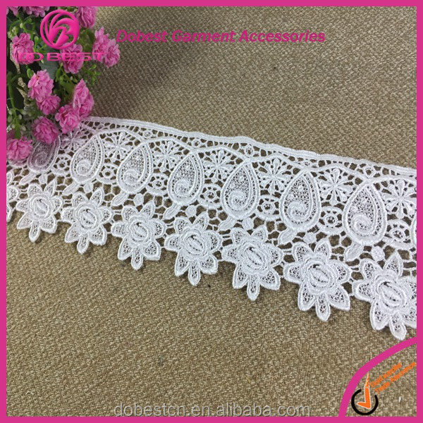 African french new design hanging embroidery ployester lace trim fabric for dress lingerie curtain table cloth decoration