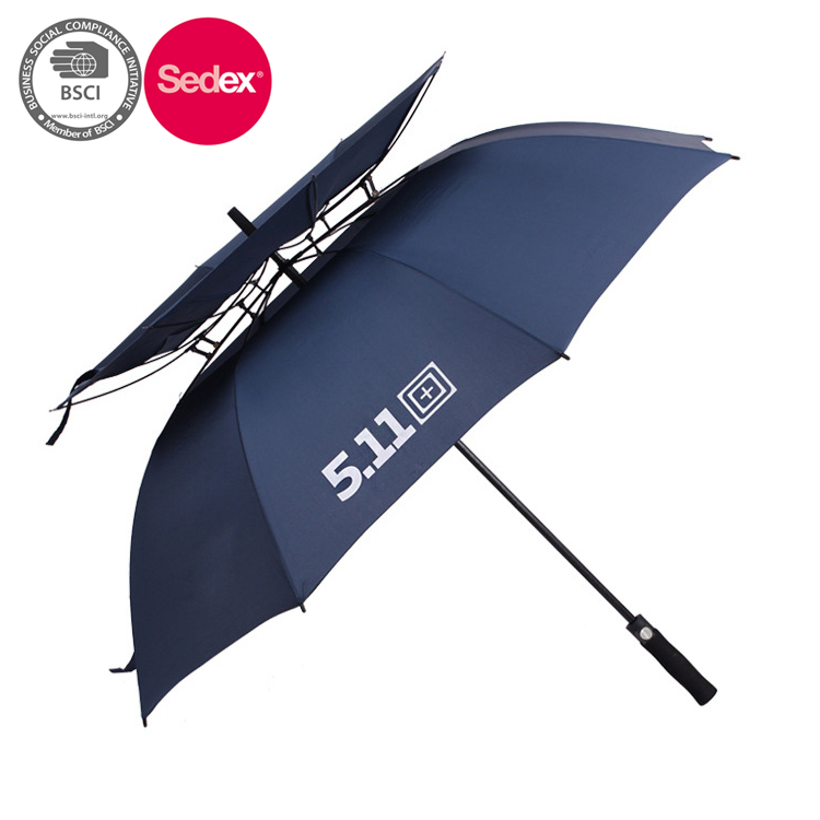 Double vented golf umbrella with oval hole