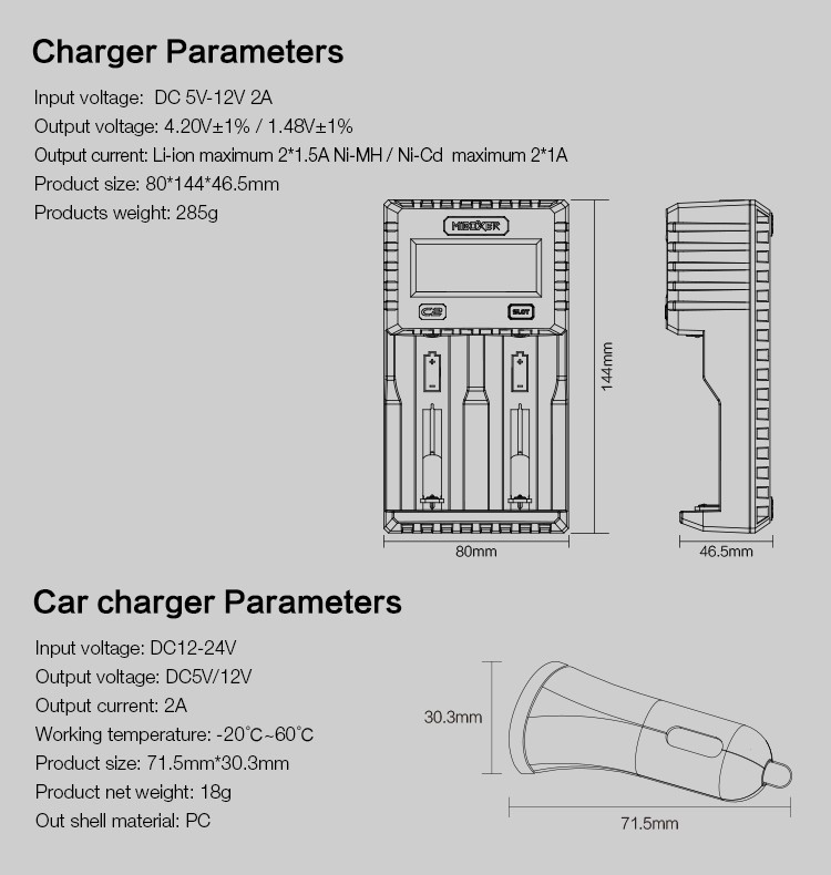Miboxer C2 Battery Charger For Li-ion Ni-mh Aa,Aaa,18650 26650 Batteries on