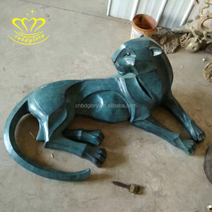 Most popular New product Metal gift craft bronze Life Size panther sculpture for table home decoration