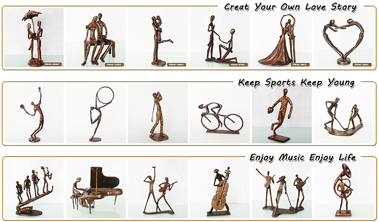 Brass metal cast iron arts and crafts home decor love story propose wedding statue home decor