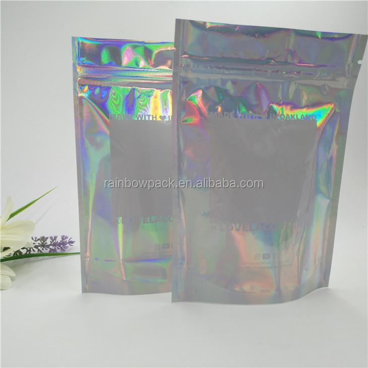 Printed Ziplock Bags Mylar Aluminum Foil Holographic Bag Flim Packaging Film Stand Up