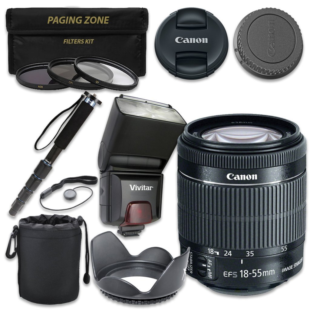 Canon EF-S 18–55mm f/3.5–5.6 IS STM Lens with Vivitar TTL Flash + 3pc Filter Kit + Monopod