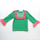 Customized Breathable Red Ruffle Sleeve Green T shirt Kids Multi Layers Trousers Baby Girls Outfits Christmas
