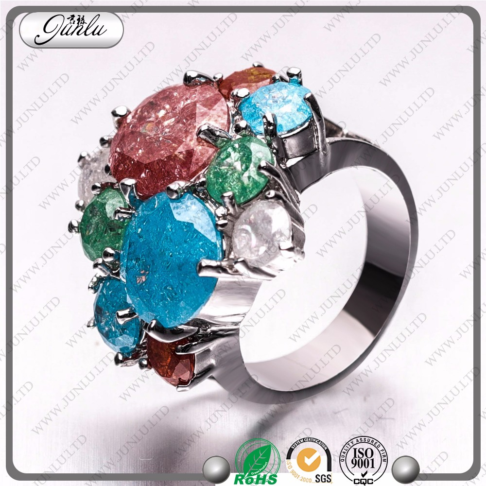 Colorful high-end euramerican style ring,india green stone rings,copper diamond ring