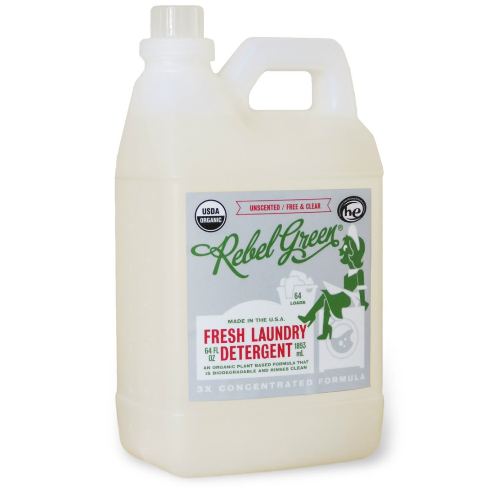 Rebel Green Natural Laundry Detergent, Certified Organic and Hypoallergenic Liquid Laundry Soap for Sensitive Skin - Unscented, 64 Loads
