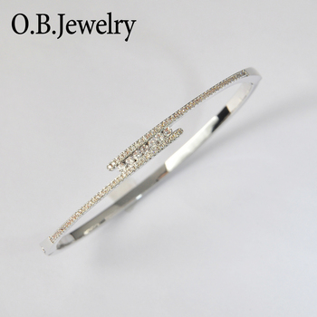 Wholesale Price Simple White Gold Plated Clear Zircon Bangle For Women