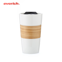 Everich 450ml Ceramic Coffee Mug with Bamboo Sleeve and Slider Lid Not Leakproof
