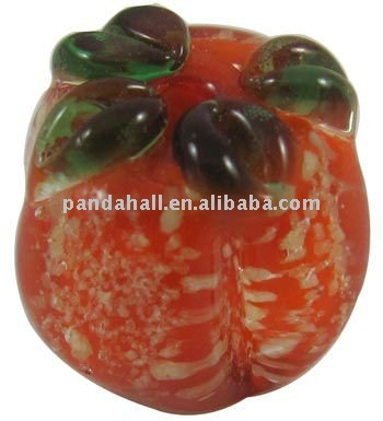 Handmade Lampwork Loose Beads, Murano Beads, Pumpkin, Red, 15x15mm, hole; 2mm(LAMP-Y015-1)