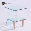 Classic hot bent glass side table curved glass with beech wood leg