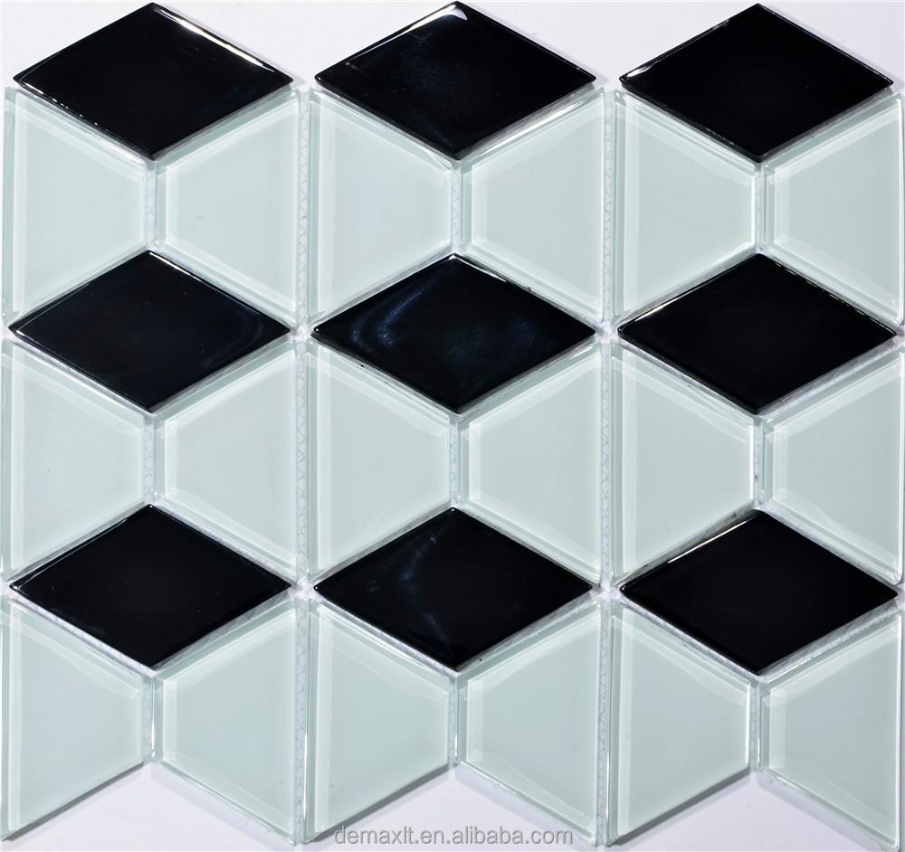 Dbdmc forma di rombo di colore bianco e nero piastrelle for Piastrelle cucina rombo