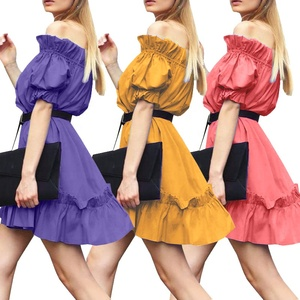 Women's Summer Party Dress Short Sleeve Business Tube Top Pure Color Skirt