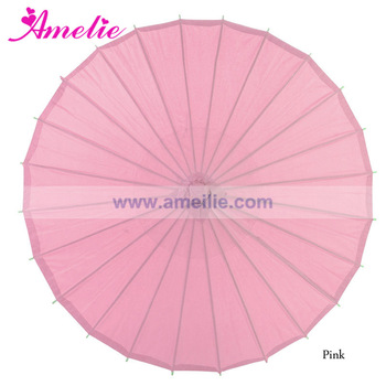Assorted Colors Pink Vintage Chinese Bamboo Parasols 32 inch