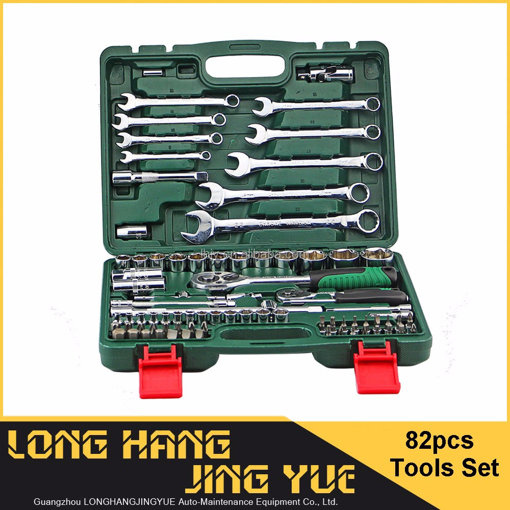 82pcs ratchet spanner wrench impact socket set mechanics tool set with good quality