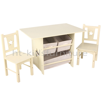 72x49x50cm White Modern E1 MDF Homework Table For Kids, Functional Wooden Table With Storages And Chairs