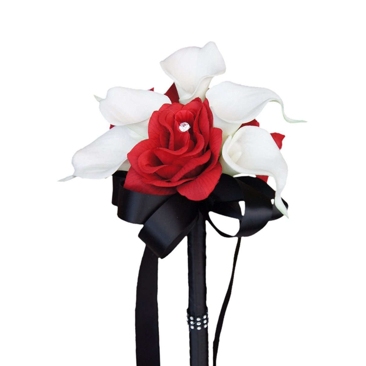 Cheap calla lily and rose find calla lily and rose deals on line at get quotations wedding bouquet apple red silk rose white real touch calla lily izmirmasajfo