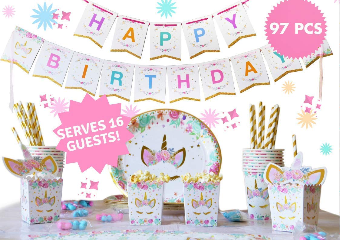 """UNICORN PARTY SUPPLIES - Pink & Gold Unicorn decorations theme design set - kid's & baby shower disposable tableware 16 x plates, cups, paper straw, napkins, popcorn box - INCLUDING rainbow """"Happy Birthday"""" banner - trendy kids sets - by TN"""